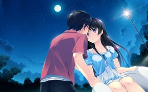 Picture Girl, Night, Guy, Pair