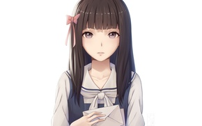 Picture kawaii, girl, game, anime, face, brunette, asian, japanese, oriental, asiatic, visual novel, bishojo, Root Letter