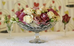 Picture flowers, roses, vase, buds