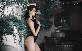 Picture swimsuit, flowers, pose, model, Anton Kharisov, Valeria Goncharova