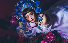 Picture look, flowers, style, model, makeup, Asian, headdress