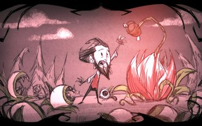 Picture flower, eyes, clouds, tree, beard, game, eyes, Wilson, stretches, Don't Starve, flower, Starve