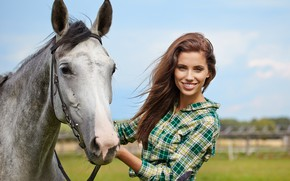 Picture field, the sky, grass, the sun, smile, horse, makeup, hairstyle, shirt, brown hair, beauty, bokeh, …