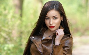 Picture look, face, background, model, hair, lipstick, jacket, beauty