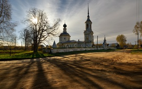 Picture road, home, temple, Kostroma, Kostroma province