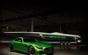 Picture car, green, boat, Cigarette Racing, Mercedes Amg