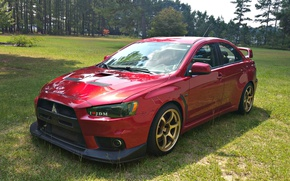 Picture Nature, Forest, Mitsubishi, Evo X, Red, Rally, Sports car