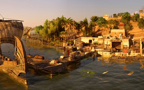 Picture river, ship, Settlement, Egypt, Assassin's Creed Origins
