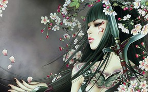 Wallpaper asian girl, lips, japanese girl, butterfly, fantasy art, digital art, artwork, peach blossom, mouth, fantasy, ...