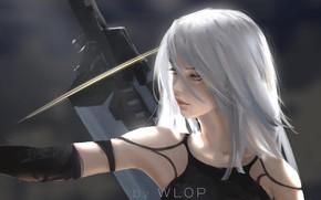 Wallpaper Girl, Figure, The game, Blonde, Girl, Hair, Sword, Art, Art, Blonde, Game, Sword, Hair, Artist, ...