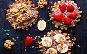 Wallpaper strawberry, bananas, chocolate, food, cream, nuts, waffles, sweet