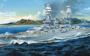 Wallpaper battleship, battleship, American, military, USS, WW2, art, ship, Navy, Arizona