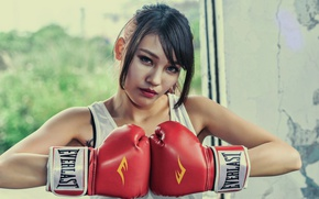 Wallpaper look, girl, face, background, hair, Boxing gloves
