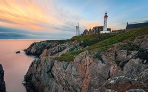 Picture sea, the sky, stones, dawn, coast, France, lighthouse, horizon, Saint Mathieu