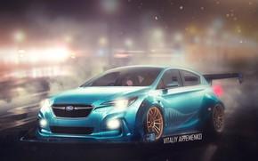 Picture wet, concept, night city, photoshop, stance, Subaru.Impreza