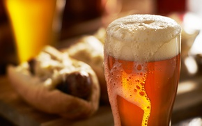 Picture glass, photo, food, drink, foam, mug, depth of field, hot dog, Beer