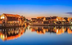 Picture landscape, lights, river, home, village, China