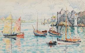 Picture boat, figure, lighthouse, watercolor, sail, Le Conquet, Paul Signac