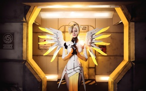 Picture game, Overwatch, Mercy, angel, woman, girl, blue eyes, pretty, seifuku, mecha, oppai, subarashii, blonde, bishojo, ...