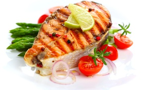 Picture lemon, fish, bow, lime, tomato, tomato, grill