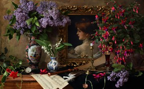 Wallpaper the flute, notes, lilac, still life, fuchsia, Lily of the valley, picture, vase