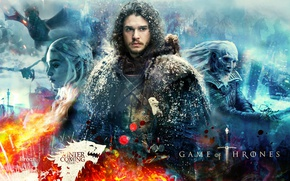 Wallpaper Kit Harington, fire, Game Of Thrones, walker, blade, queen, A Song of Ice and Fire, ...