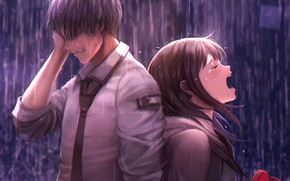 Picture girl, rain, guy, two, tears