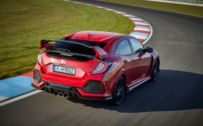 Picture asphalt, red, movement, lawn, track, turn, Honda, the curb, 2017, Civic Type R, 2l., 320 ...