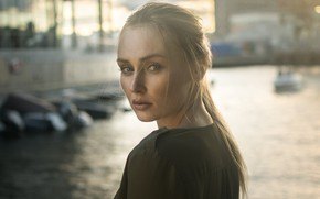 Picture look, girl, river, portrait, blonde, beautiful, bokeh, Florian Pascual