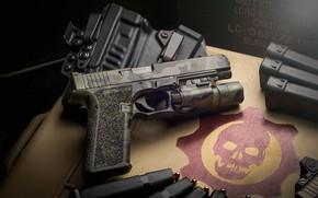 Picture macro, gun, background, flashlight, clips