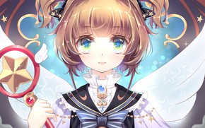 Picture look, wings, angel, girl, rod, Card Captor Sakura, Sakura - collector cards