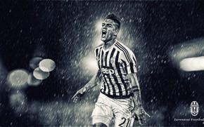 Wallpaper Juventus, rain, spotlight, The Argentine wizard, dybala