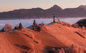 Picture mountains, fog, morning, Church