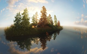 Picture lake, island, tent, Inspired by a trip to Lake Baikal, Stuck