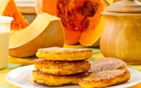 Picture autumn, pumpkin, pancakes