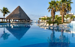 Picture resort, pool, palm trees