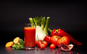 Picture glass, juice, pepper, black background, tomatoes, carrots, tomatoes, garnet