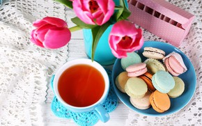 Wallpaper flowers, tea, bouquet, cookies, tulips, flowers, cakes, tulips, napkin, cakes, bouquet, tea, cookies, macaroon, macaroon, ...