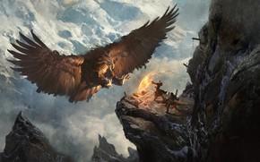 Wallpaper Greg Rutkowski, Secret Pass - Eagle Nest, mountains, heroes, the situation, eagle, fantasy