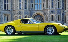 Picture Color, Auto, Yellow, Lamborghini, Machine, Classic, 1971, Lights, Car, Supercar, Side view, Lamborghini Miura, P400, …