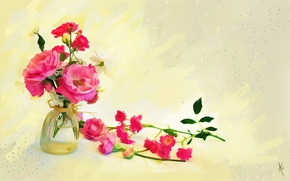 Picture glass, water, flowers, background, figure, graphics, roses, treatment, bouquet, light, picture, art, pink, painting, buds, …