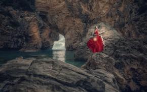 Wallpaper Ozcan Care, girl, lantern, gorge, sea