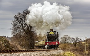 Picture the sky, nature, smoke, the engine, couples, moving