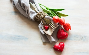 Picture flowers, holiday, devices, spoon, hearts, tulips, plug, figures, napkin