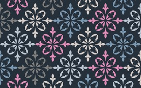 Wallpaper flowers, retro, pattern, texture, ornament, blue background