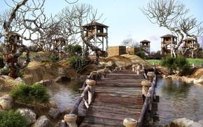 Picture the bridge, pond, the tower, BRIDGES & PONDS, VIEWING DECKS