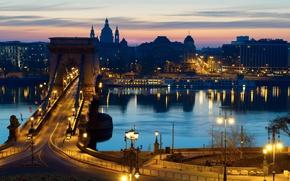 Picture river, Budapest, lights, night, Hungary, lights, promenade, road, home, street, bridge