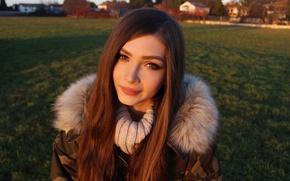 Picture field, grass, look, girl, smile, sweetheart, hair, portrait, jacket, brown hair, beautiful, Rus, Karina Kozyreva