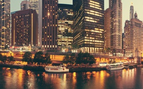 Picture The evening, The city, House, Chicago, Bay, Skyscrapers, USA, Bridges, Boats, Piers