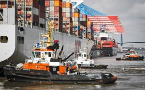 Picture Port, The ship, Hamburg, A container ship, Tugs, Tug, Container ships, Board, osvetova, De-berthing, Mooring, ...